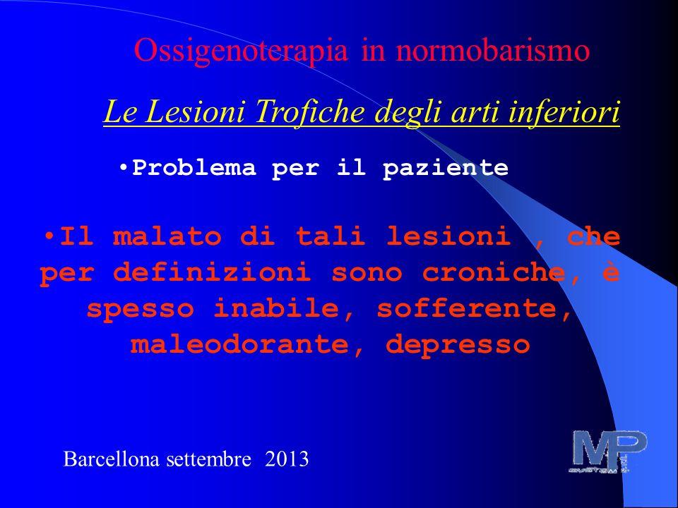 Barcellona settembre 2013 Ossigenoterapia in normobarismo Le Lesioni Trofiche degli arti inferiori Problema per il paziente Il malato di tali lesioni,