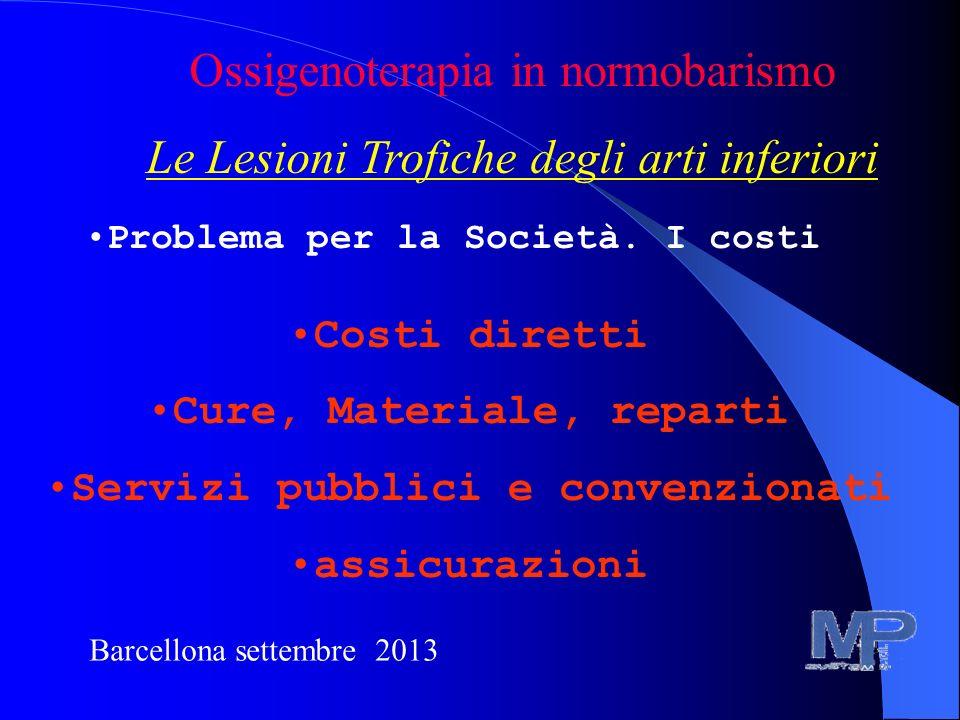Barcellona settembre 2013 Ossigenoterapia in normobarismo Le Lesioni Trofiche degli arti inferiori Problema per la Società. I costi Costi diretti Cure