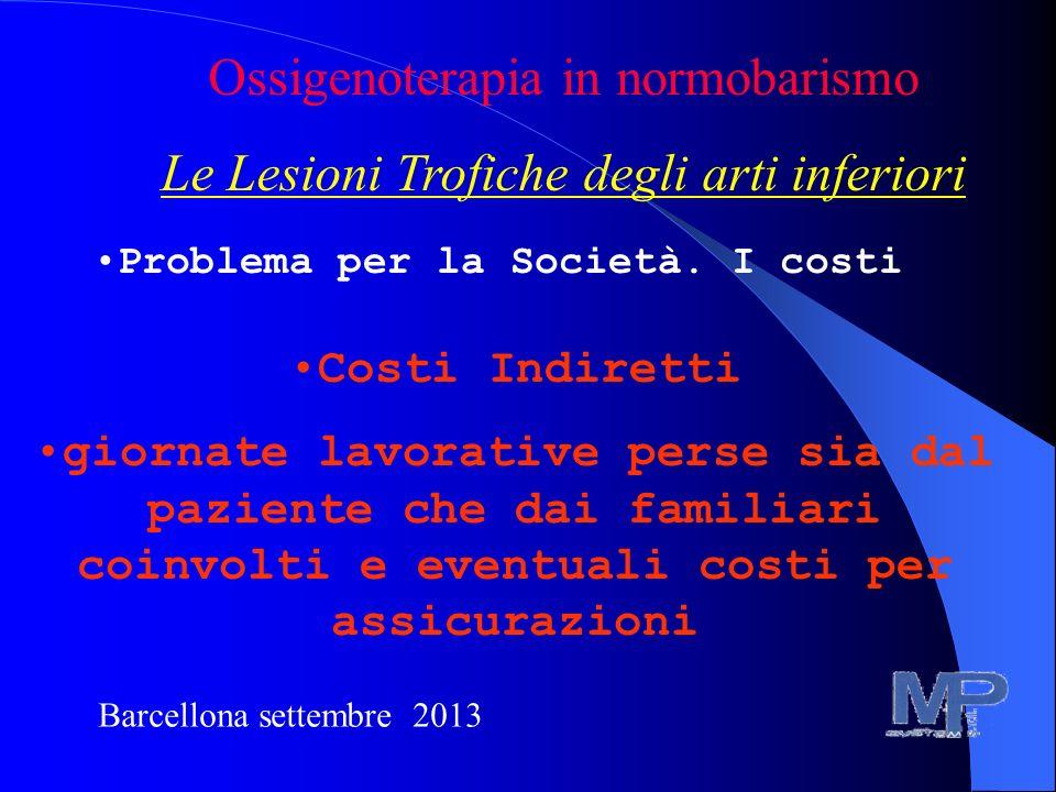 Barcellona settembre 2013 Ossigenoterapia in normobarismo Le Lesioni Trofiche degli arti inferiori Problema per la Società. I costi Costi Indiretti gi