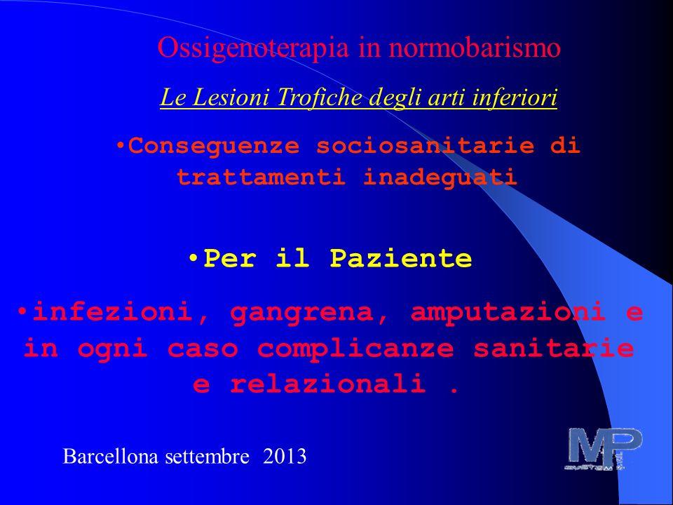 Conseguenze sociosanitarie di trattamenti inadeguati Per il Paziente infezioni, gangrena, amputazioni e in ogni caso complicanze sanitarie e relaziona
