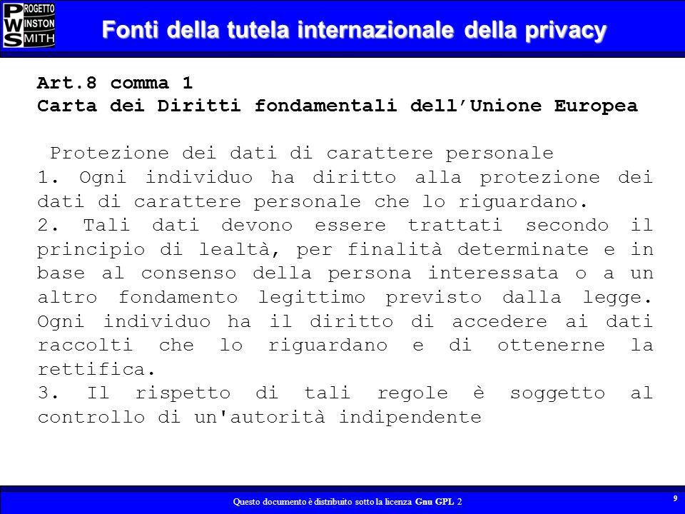 Questo documento è distribuito sotto la licenza Gnu GPL 2 10 Fonti della tutela internazionale della privacy E – privacy La sfera della propria vita privata che lindividuo proietta nello spazio globale costituito da internet.