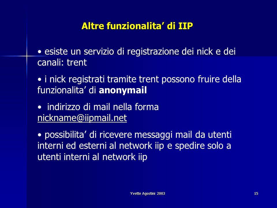 Yvette Agostini 200315 Altre funzionalita di IIP esiste un servizio di registrazione dei nick e dei canali: trent i nick registrati tramite trent poss