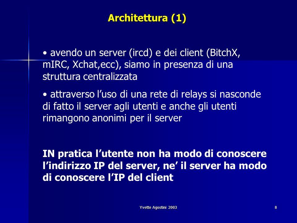 Yvette Agostini 20038 Architettura (1) avendo un server (ircd) e dei client (BitchX, mIRC, Xchat,ecc), siamo in presenza di una struttura centralizzat
