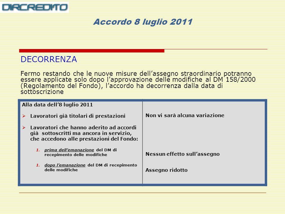 Accordo 8 luglio 2011 DECORRENZA Fermo restando che le nuove misure dellassegno straordinario potranno essere applicate solo dopo lapprovazione delle modifiche al DM 158/2000 (Regolamento del Fondo), laccordo ha decorrenza dalla data di sottoscrizione Alla data dell8 luglio 2011 Lavoratori già titolari di prestazioni Lavoratori che hanno aderito ad accordi già sottoscritti ma ancora in servizio, che accedono alle prestazioni del Fondo: 1.prima dellemanazione del DM di recepimento delle modifiche 1.dopo lemanazione del DM di recepimento delle modifiche Non vi sarà alcuna variazione Nessun effetto sullassegno Assegno ridotto