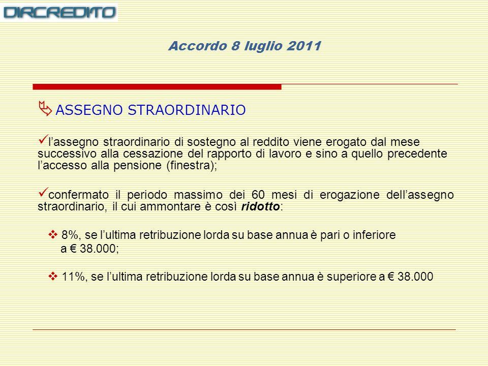 Accordo 8 luglio 2011 ASSEGNO STRAORDINARIO lassegno straordinario di sostegno al reddito viene erogato dal mese successivo alla cessazione del rapporto di lavoro e sino a quello precedente laccesso alla pensione (finestra); confermato il periodo massimo dei 60 mesi di erogazione dellassegno straordinario, il cui ammontare è così ridotto: 8%, se lultima retribuzione lorda su base annua è pari o inferiore a 38.000; 11%, se lultima retribuzione lorda su base annua è superiore a 38.000