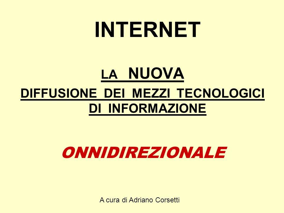 A cura di Adriano Corsetti INTERNET LA NUOVA DIFFUSIONE DEI MEZZI TECNOLOGICI DI INFORMAZIONE ONNIDIREZIONALE