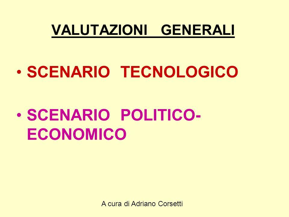A cura di Adriano Corsetti VALUTAZIONI GENERALI SCENARIO TECNOLOGICO SCENARIO POLITICO- ECONOMICO