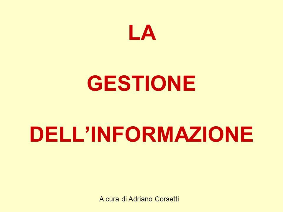 A cura di Adriano Corsetti LA GESTIONE DELLINFORMAZIONE