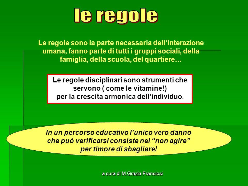 a cura di M.Grazia Franciosi Le regole sono la parte necessaria dellinterazione umana, fanno parte di tutti i gruppi sociali, della famiglia, della sc