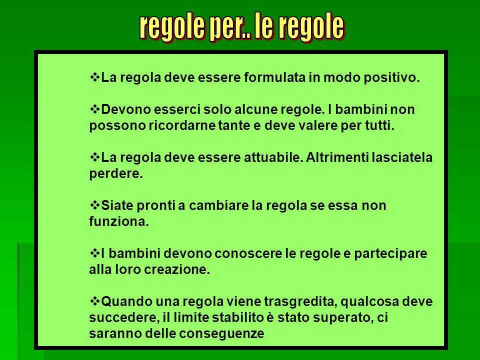 a cura di M.Grazia Franciosi La regola deve essere formulata in modo positivo. Devono esserci solo alcune regole. I bambini non possono ricordarne tan