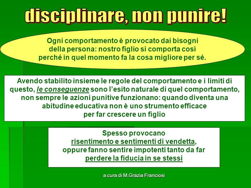 a cura di M.Grazia Franciosi Ogni comportamento è provocato dai bisogni della persona: nostro figlio si comporta così perché in quel momento fa la cos