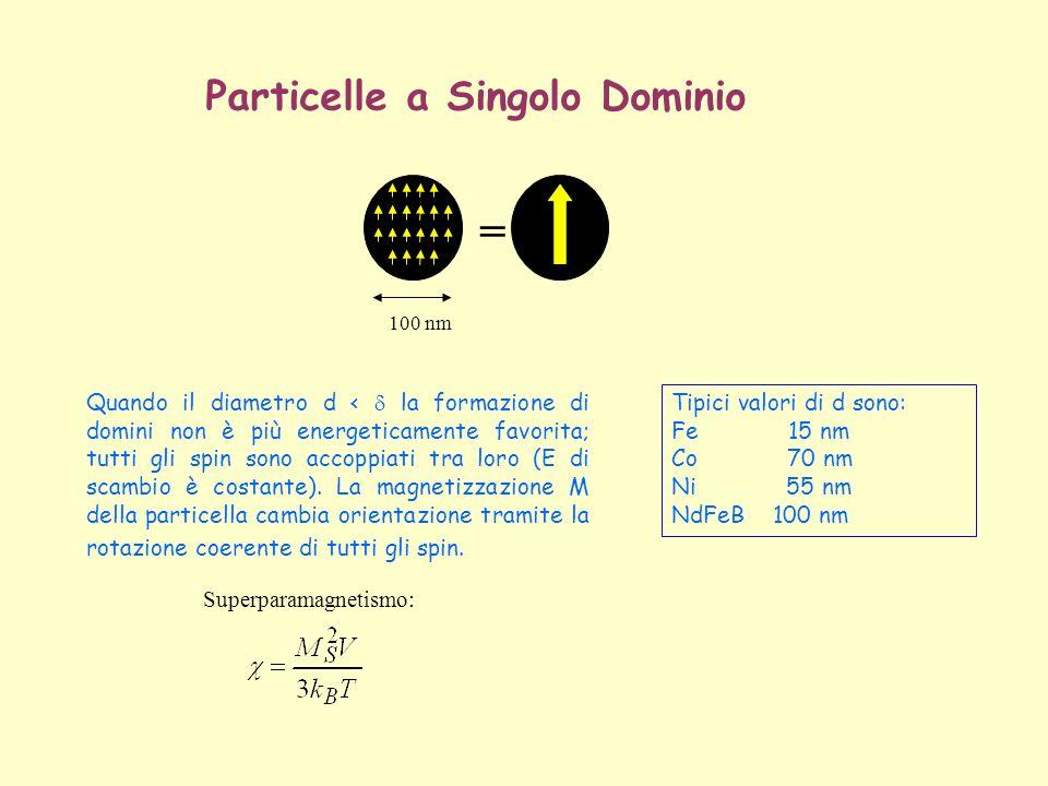 = 100 nm Particelle a Singolo Dominio Quando il diametro d < la formazione di domini non è più energeticamente favorita; tutti gli spin sono accoppiat