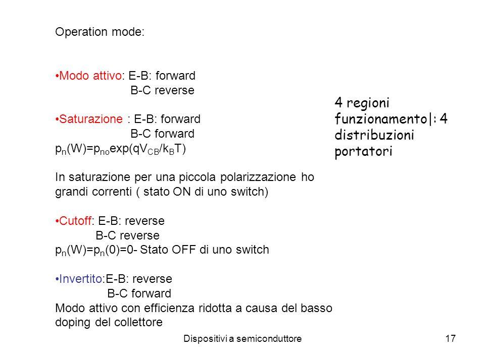 Dispositivi a semiconduttore17 Operation mode: Modo attivo: E-B: forward B-C reverse Saturazione : E-B: forward B-C forward p n (W)=p no exp(qV CB /k