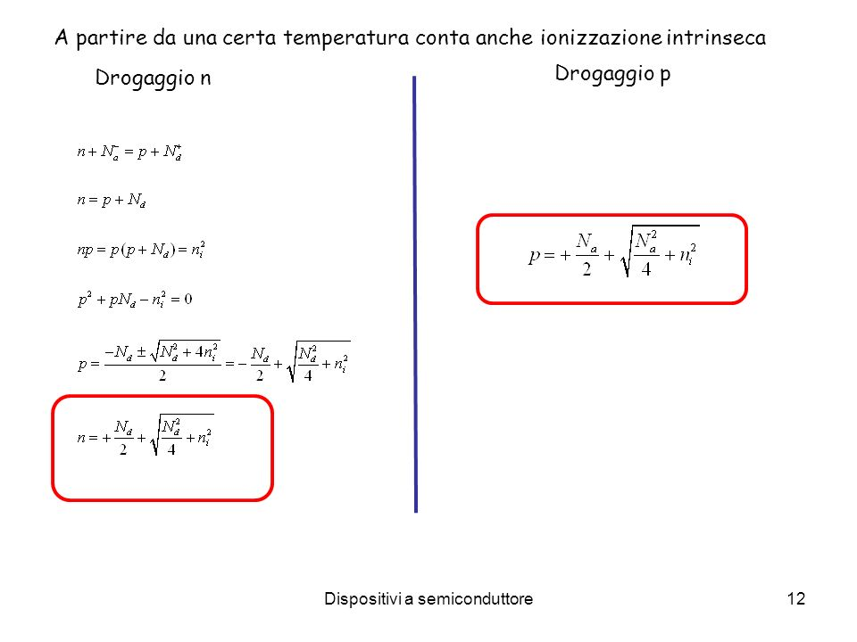 Dispositivi a semiconduttore12 A partire da una certa temperatura conta anche ionizzazione intrinseca Drogaggio p Drogaggio n