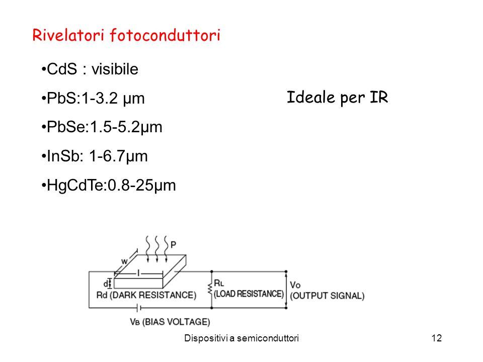 Dispositivi a semiconduttori12 Rivelatori fotoconduttori CdS : visibile PbS:1-3.2 µm PbSe:1.5-5.2µm InSb: 1-6.7µm HgCdTe:0.8-25µm Ideale per IR