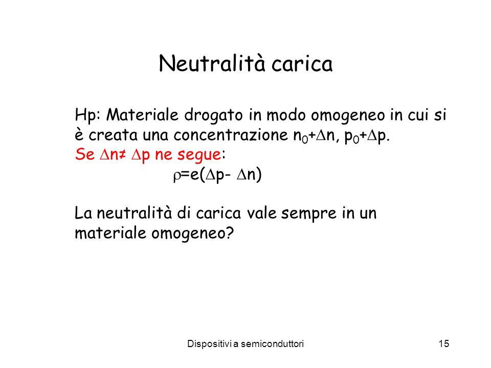 Dispositivi a semiconduttori15 Neutralità carica Hp: Materiale drogato in modo omogeneo in cui si è creata una concentrazione n 0 + n, p 0 + p. Se n p