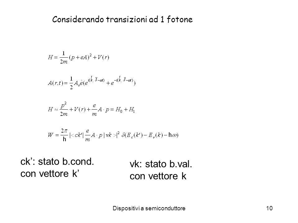 Dispositivi a semiconduttore10 Considerando transizioni ad 1 fotone ck: stato b.cond.