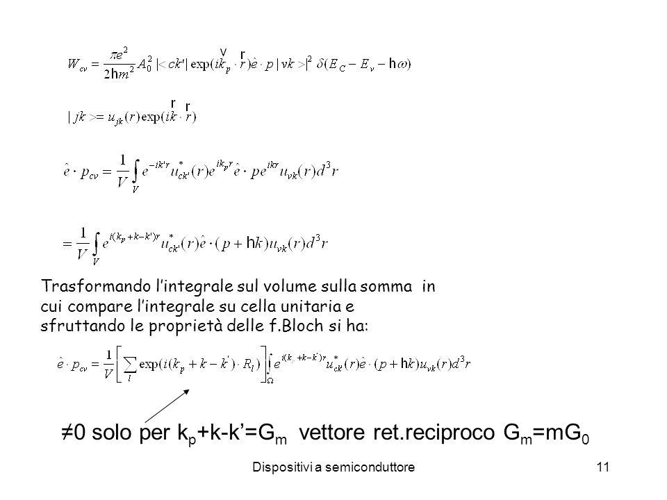 Dispositivi a semiconduttore11 Trasformando lintegrale sul volume sulla somma in cui compare lintegrale su cella unitaria e sfruttando le proprietà delle f.Bloch si ha: 0 solo per k p +k-k=G m vettore ret.reciproco G m =mG 0