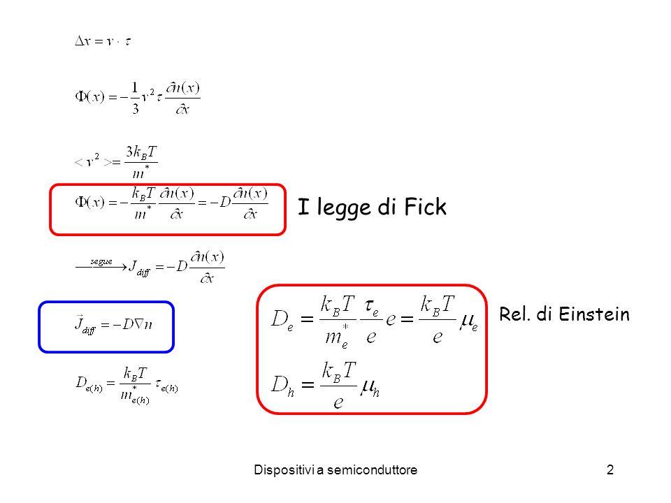 Dispositivi a semiconduttore3 Conservazione del numero di particelle II legge di Fick: equ.diffusione Corrente totale Le correnti di drift hanno lo stesso segno, mentre quelle di diffusione hanno segno opposto
