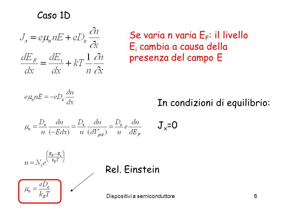 Dispositivi a semiconduttore6 Caso 1D In condizioni di equilibrio: J x =0 Se varia n varia E F : il livello E i cambia a causa della presenza del campo E Rel.