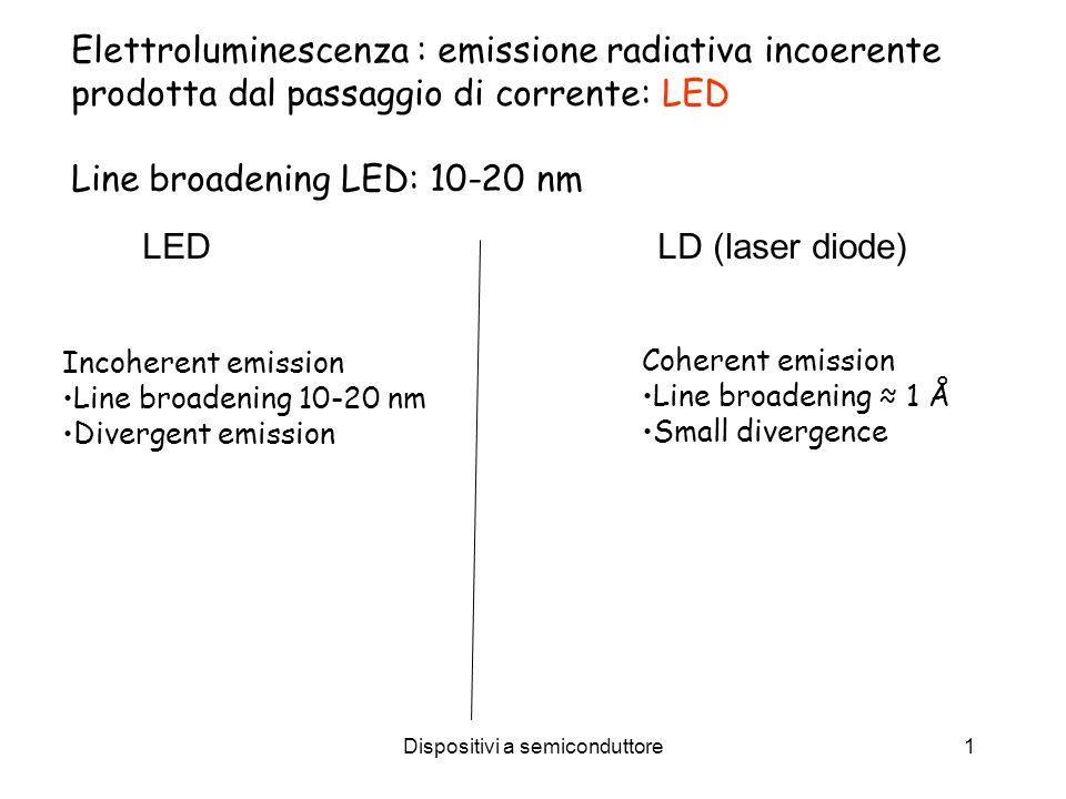 Dispositivi a semiconduttore1 Elettroluminescenza : emissione radiativa incoerente prodotta dal passaggio di corrente: LED Line broadening LED: 10-20