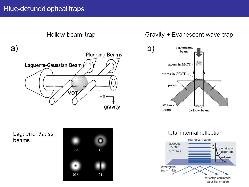 Blue-detuned optical traps Hollow-beam trapGravity + Evanescent wave trap Laguerre-Gauss beams total internal reflection