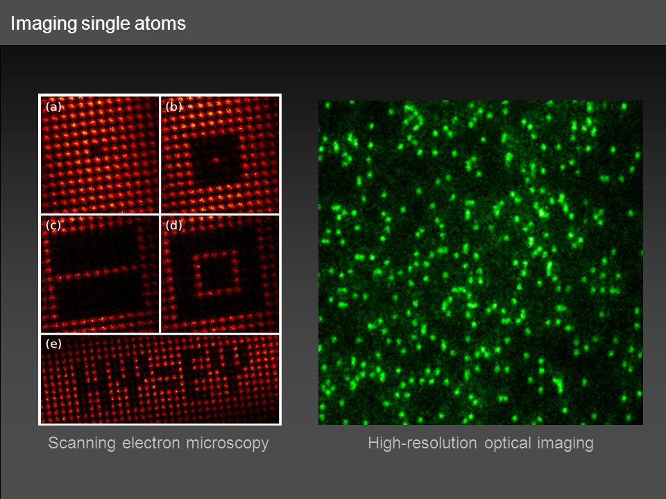 Imaging single atoms Scanning electron microscopyHigh-resolution optical imaging