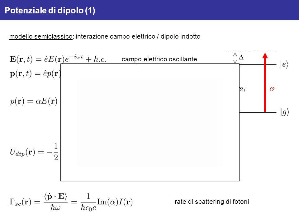 Potenziale di dipolo (1) modello semiclassico: interazione campo elettrico / dipolo indotto polarizzabilità atomica (complessa) campo elettrico oscill