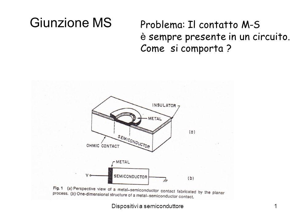 Dispositivi a semiconduttore1 Giunzione MS Problema: Il contatto M-S è sempre presente in un circuito. Come si comporta ?