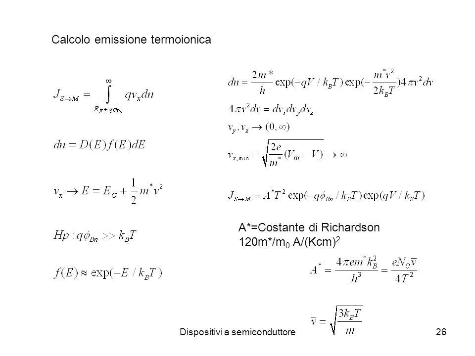 Dispositivi a semiconduttore26 Calcolo emissione termoionica A*=Costante di Richardson 120m*/m 0 A/(Kcm) 2