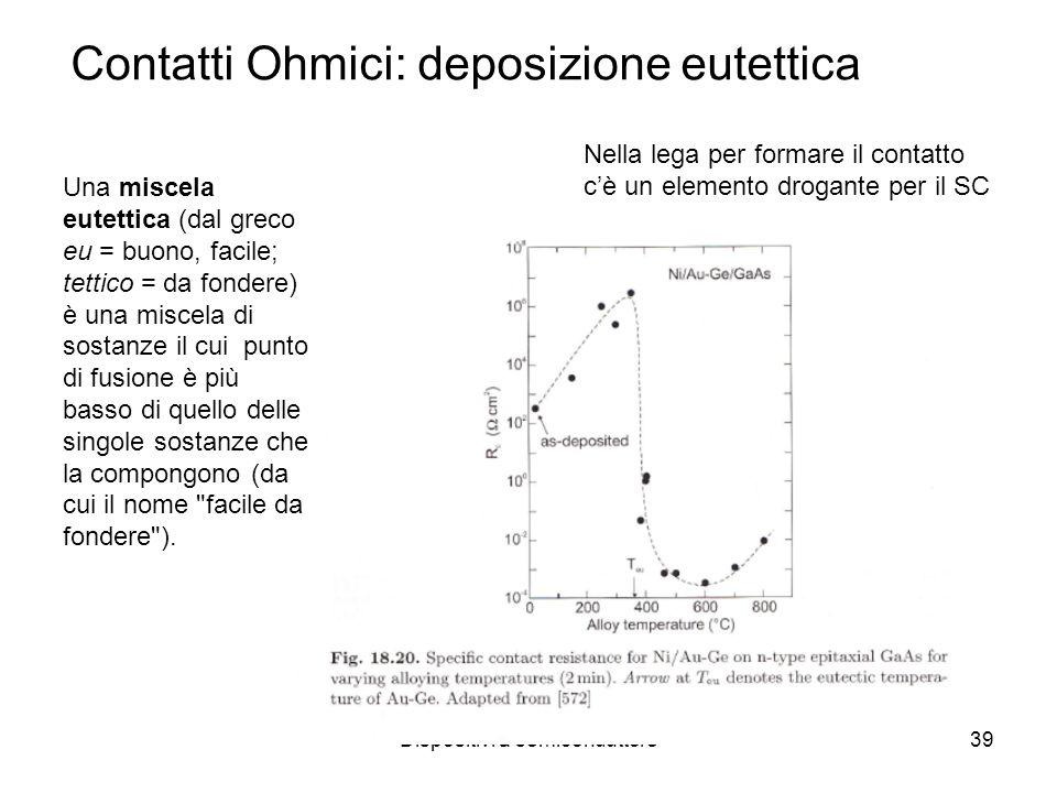 Dispositivi a semiconduttore39 Contatti Ohmici: deposizione eutettica Una miscela eutettica (dal greco eu = buono, facile; tettico = da fondere) è una