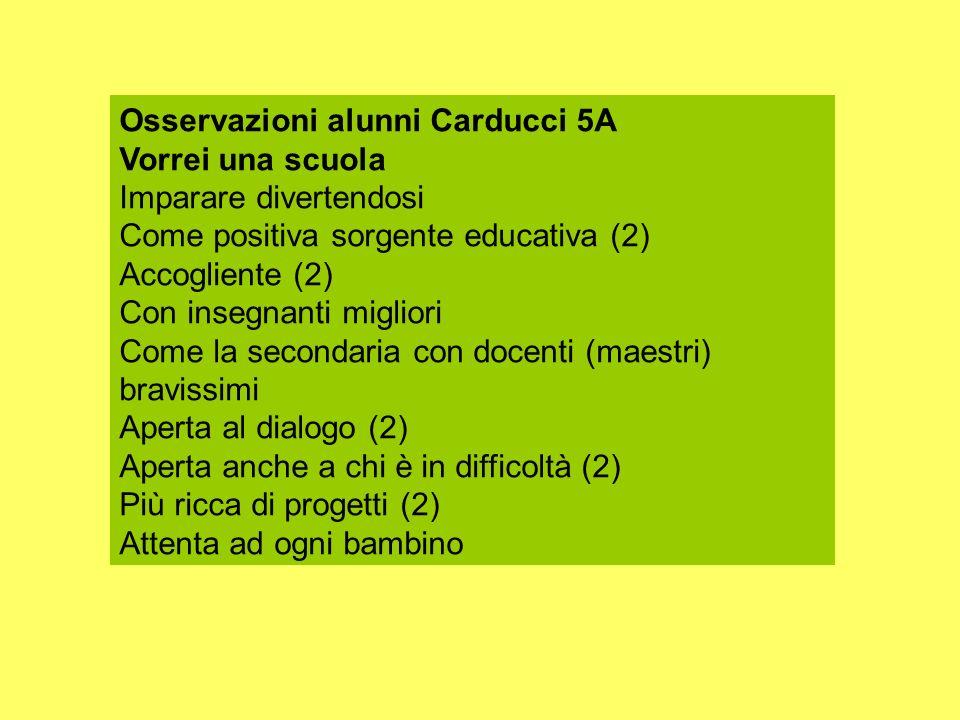 Osservazioni alunni Carducci 5A Vorrei una scuola Imparare divertendosi Come positiva sorgente educativa (2) Accogliente (2) Con insegnanti migliori C