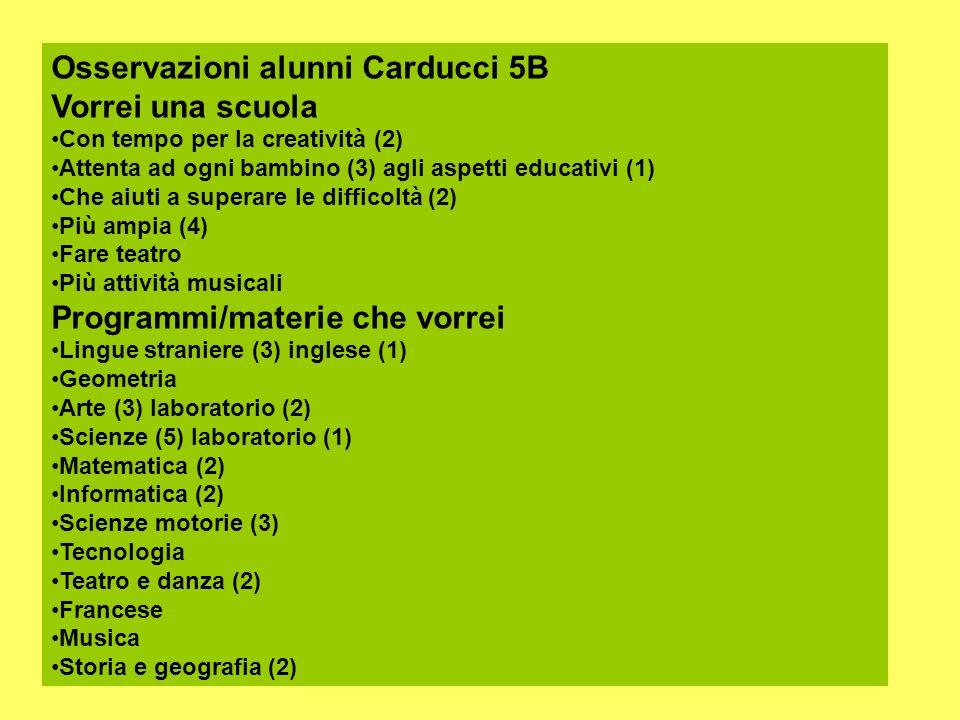 Osservazioni alunni Carducci 5B Vorrei una scuola Con tempo per la creatività (2) Attenta ad ogni bambino (3) agli aspetti educativi (1) Che aiuti a s