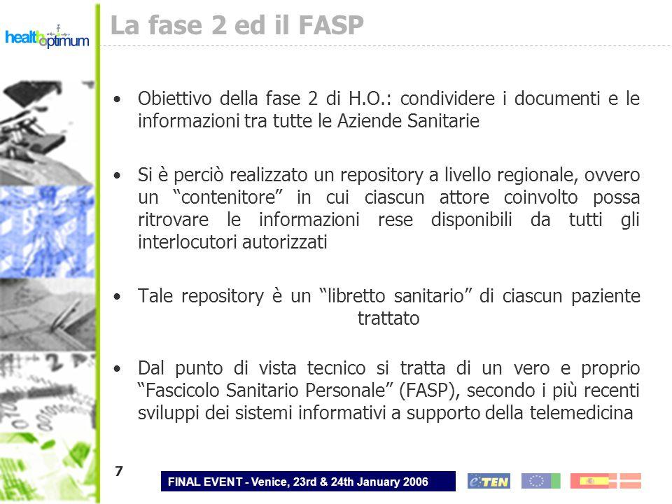 FINAL EVENT - Venice, 23rd & 24th January 2006 8 Il FASP e la cooperazione applicativa Le caratteristiche di questo repository sono perfettamente coerenti con larchitettura generale del progetto Health Optimum (cooperazione applicativa, profili di integrazione IHE, messaggistica HL7-CDA), con quella assunta come riferimento dalla Regione Veneto e con gli standard di e-gov Il riferimento al modello XDS di IHE allinea tale realizzazione agli altri progetti di punta italiani (Conto Corrente Salute, SOLE) ed internazionali (eGov US, NHS Galles) Il repository di Health Optimum è quindi una soluzione di grande interesse anche per la sua riusabilità ed estensibilità verso un FASP vero e proprio