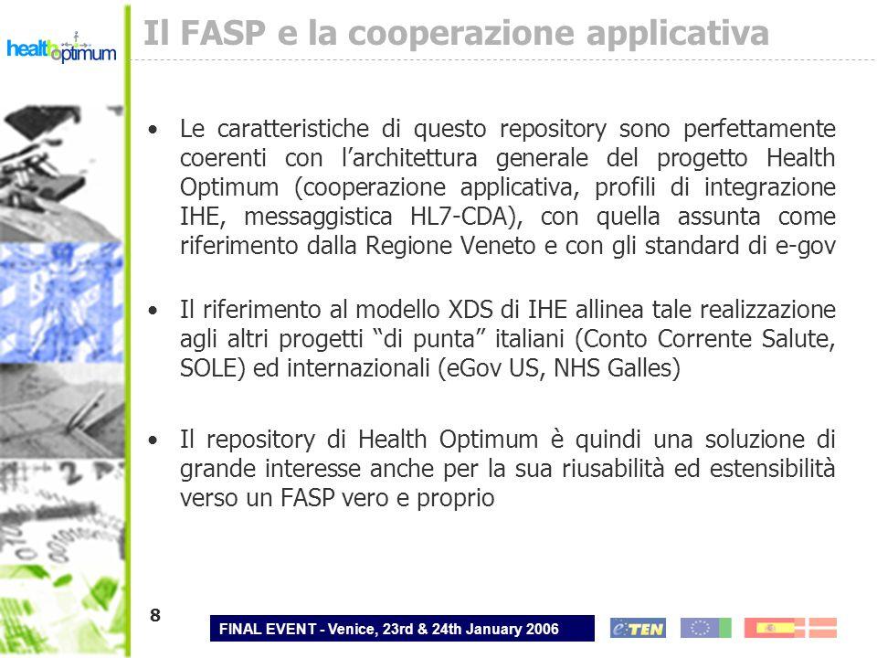 FINAL EVENT - Venice, 23rd & 24th January 2006 8 Il FASP e la cooperazione applicativa Le caratteristiche di questo repository sono perfettamente coer