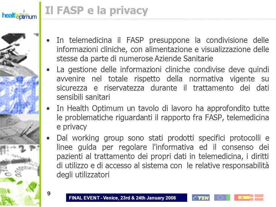 FINAL EVENT - Venice, 23rd & 24th January 2006 9 Il FASP e la privacy In telemedicina il FASP presuppone la condivisione delle informazioni cliniche,