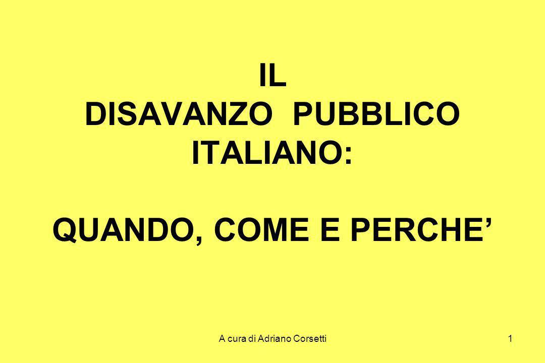 A cura di Adriano Corsetti1 IL DISAVANZO PUBBLICO ITALIANO: QUANDO, COME E PERCHE