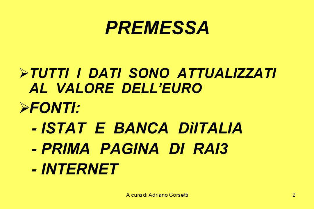 A cura di Adriano Corsetti2 PREMESSA TUTTI I DATI SONO ATTUALIZZATI AL VALORE DELLEURO FONTI: - ISTAT E BANCA DìITALIA - PRIMA PAGINA DI RAI3 - INTERNET