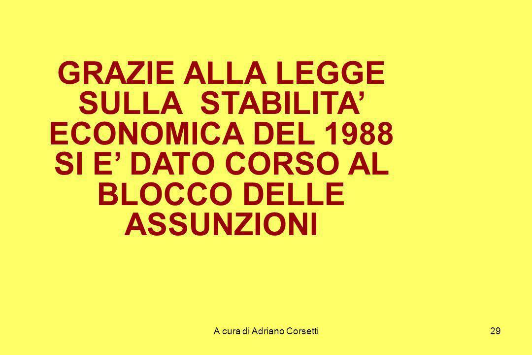 A cura di Adriano Corsetti29 GRAZIE ALLA LEGGE SULLA STABILITA ECONOMICA DEL 1988 SI E DATO CORSO AL BLOCCO DELLE ASSUNZIONI