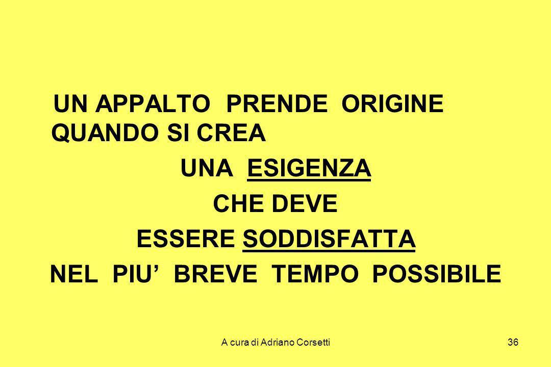 A cura di Adriano Corsetti36 UN APPALTO PRENDE ORIGINE QUANDO SI CREA UNA ESIGENZA CHE DEVE ESSERE SODDISFATTA NEL PIU BREVE TEMPO POSSIBILE