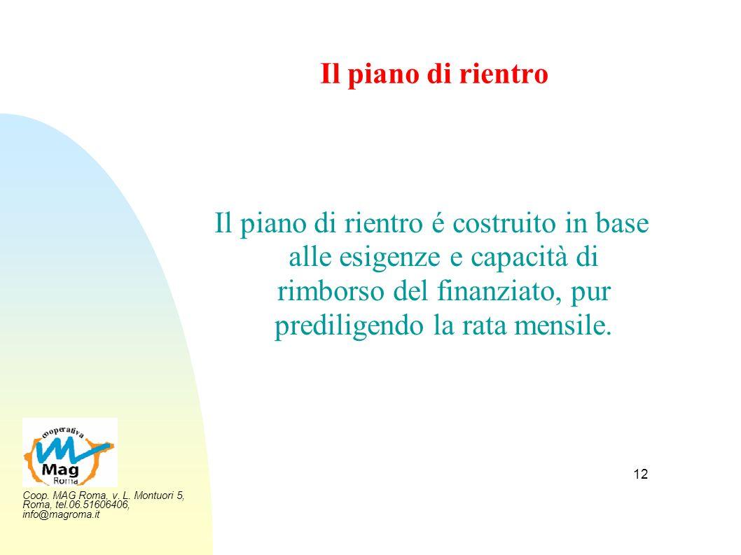Coop. MAG Roma, v. L. Montuori 5, Roma, tel.06.51606406, info@magroma.it 12 Il piano di rientro Il piano di rientro é costruito in base alle esigenze