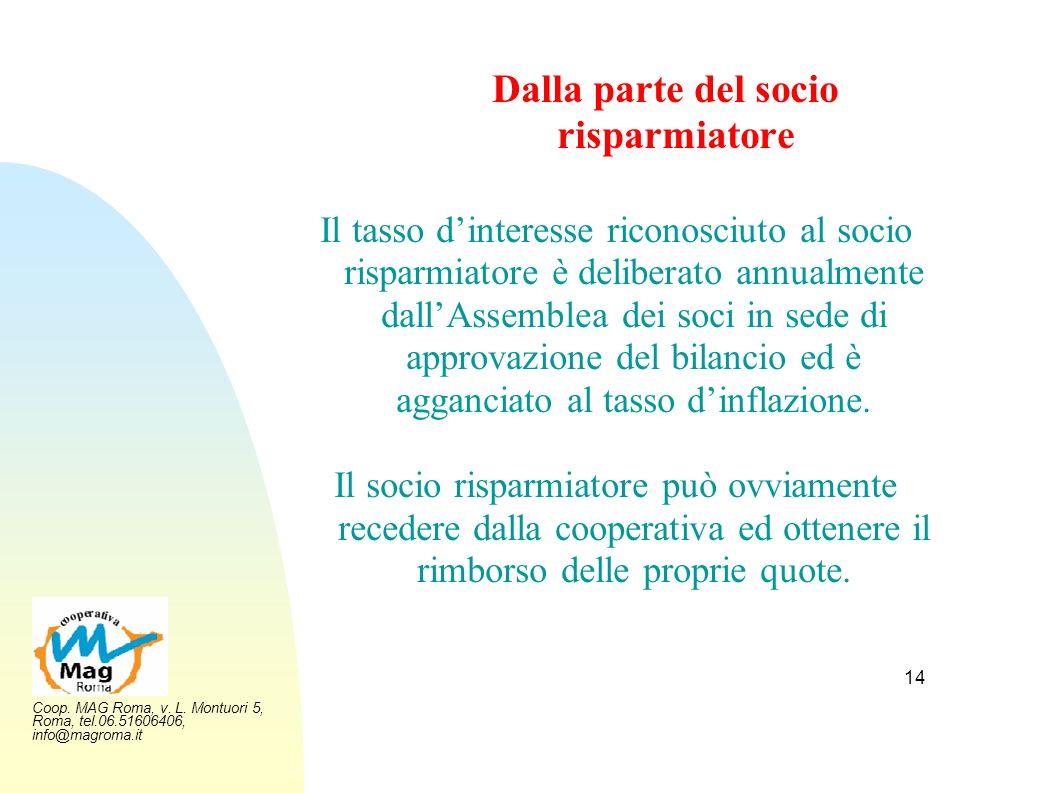 Coop. MAG Roma, v. L. Montuori 5, Roma, tel.06.51606406, info@magroma.it 14 Dalla parte del socio risparmiatore Il tasso dinteresse riconosciuto al so