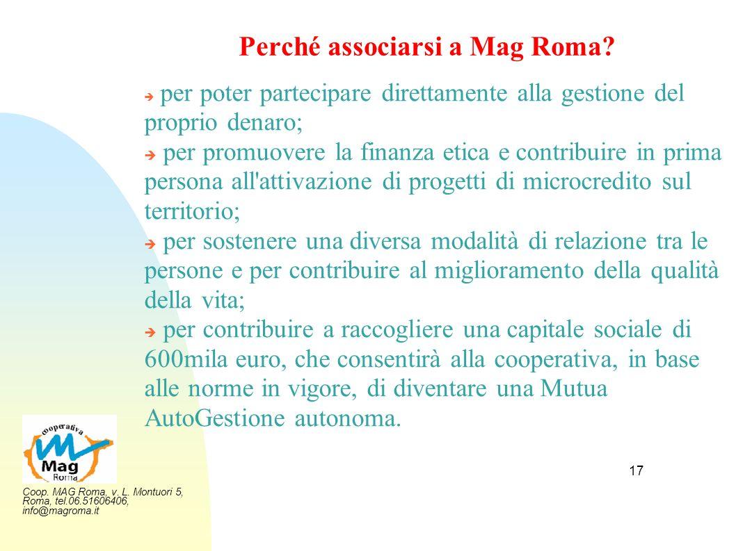 Coop. MAG Roma, v. L. Montuori 5, Roma, tel.06.51606406, info@magroma.it 17 Perché associarsi a Mag Roma? per poter partecipare direttamente alla gest