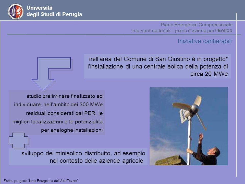 Università degli Studi di Perugia Iniziative cantierabili sviluppo del minieolico distribuito, ad esempio nel contesto delle aziende agricole nellarea