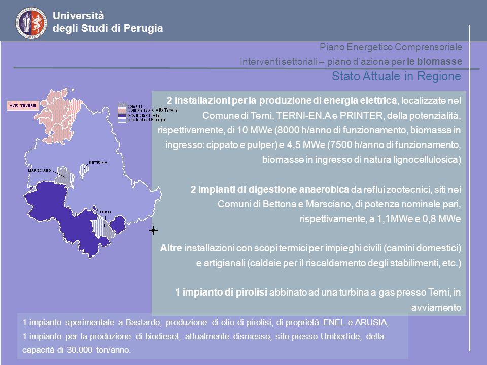 Università degli Studi di Perugia Piano Energetico Comprensoriale Interventi settoriali – piano dazione per le biomasse Stato Attuale in Regione 2 ins