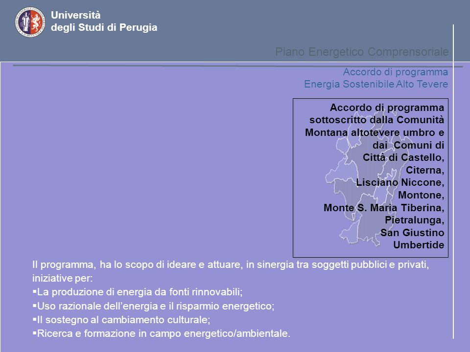 Università degli Studi di Perugia Piano Energetico Comprensoriale Interventi settoriali – piano dazione per il Solare Stato Attuale nella Regione Allo stato attuale in Umbria sono installati circa 10.000 mq di pannelli per riscaldamento.