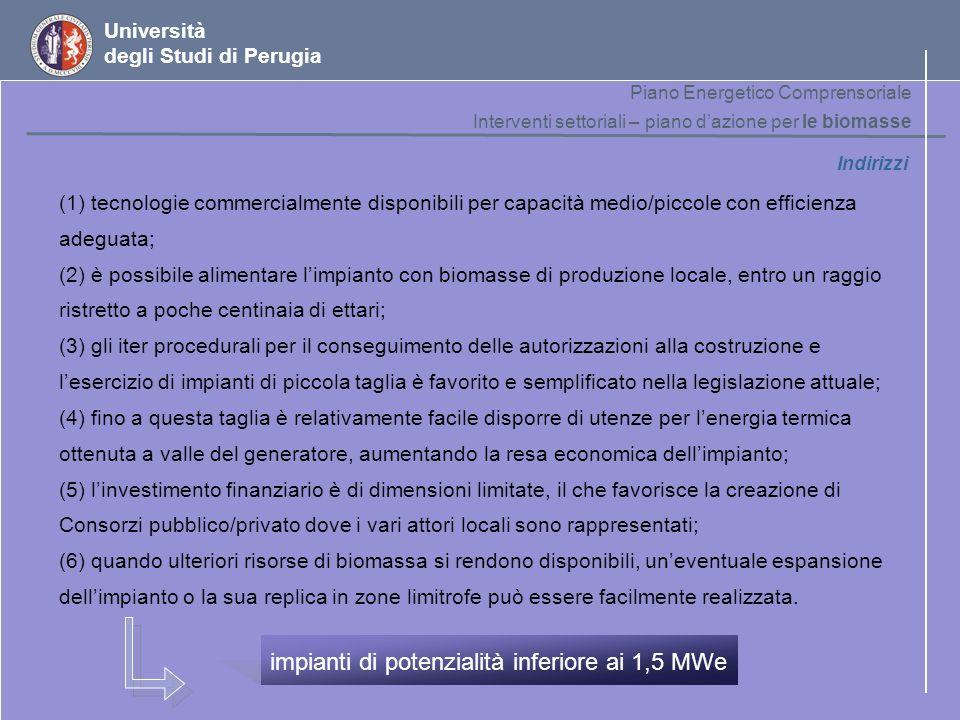 Università degli Studi di Perugia Indirizzi (1) tecnologie commercialmente disponibili per capacità medio/piccole con efficienza adeguata; (2) è possi