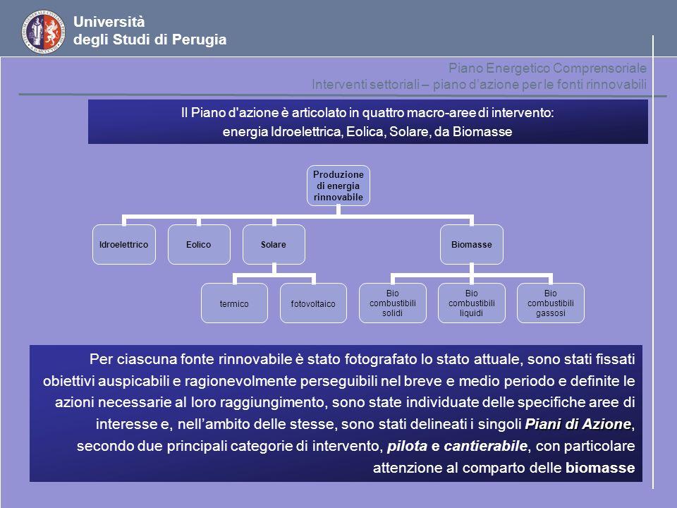 Università degli Studi di Perugia Piano Energetico Comprensoriale Interventi settoriali – piano dazione per le fonti rinnovabili Piani di Azione Per c