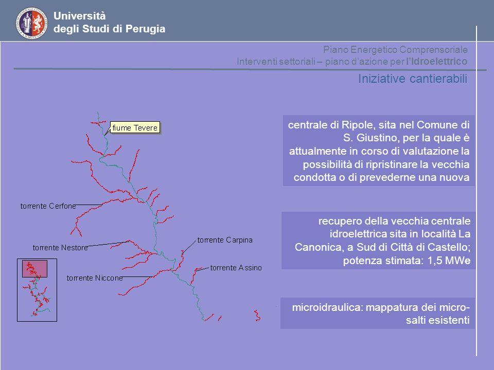 Università degli Studi di Perugia Iniziative cantierabili recupero della vecchia centrale idroelettrica sita in località La Canonica, a Sud di Città d