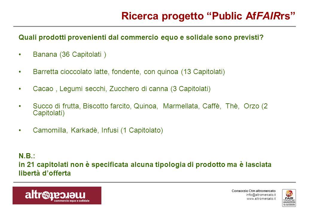 Consorzio Ctm altromercato info@altromercato.it www.altromercato.it Ricerca progetto Public AfFAIRrs Quali prodotti provenienti dal commercio equo e solidale sono previsti.